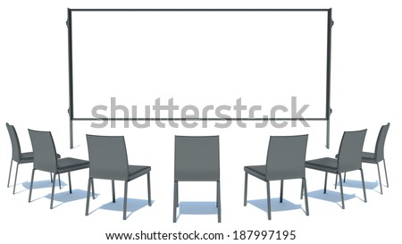 Black chairs and board - stock photo