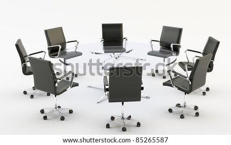 Black chairs around a glass office table - stock photo