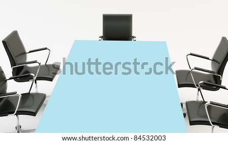 black chairs around a light office table - Light Blue Desk Chair