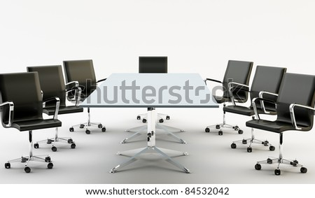 Black chairs around a light office table - stock photo