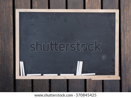 black chalk board on wood. top view education.free space for promote.   - stock photo