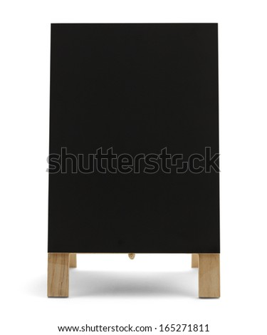 Black Chalk Board Stand Up Restaurant Menu Sign Isolated On White Background. - stock photo