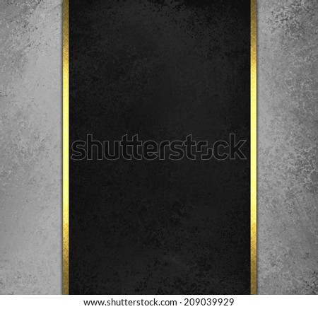 black chalkboard background with grey sidebar panels with gold ribbon trim accent - stock photo