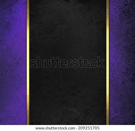 black chalkboard background with purple sidebar panels with gold ribbon trim accent - stock photo