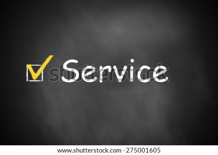 black chalkboard best service checkbox checked - stock photo