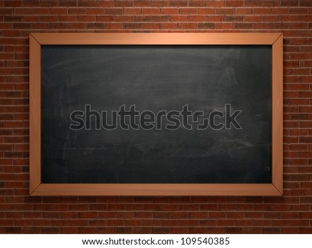 Black chalkboard on brick wall