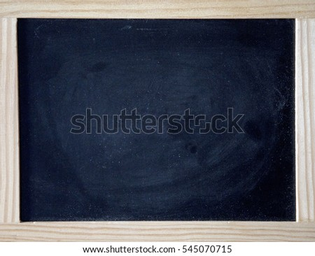 black chalkboard with brown wooden frame