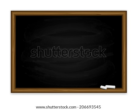 Black chalkboard with chalk isolated on white background, illustration.