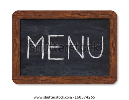 """Black chalkboard with """"menu"""" handwriting including clipping path - stock photo"""