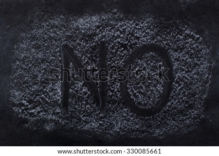 Black chalkboard with NO written on the dust - stock photo
