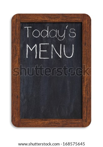 """Black chalkboard with """"today's menu"""" handwriting including clipping path - stock photo"""