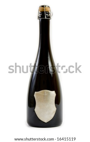 Black champagne bottle with cork on white background. The label can be subtitled. - stock photo