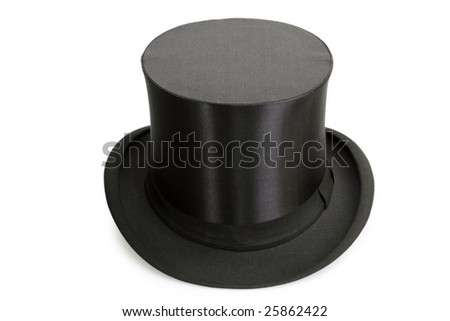 Black Chapeau claque isolated on white background
