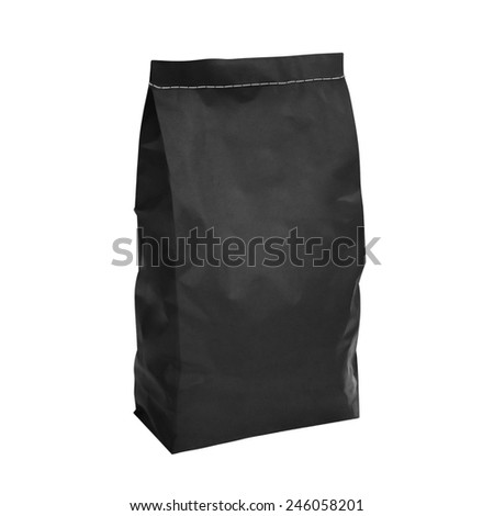 Black charcoal paper bag isolated on white background - stock photo