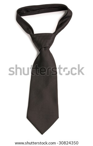 Black  chequer necktie. Isolated on white background. - stock photo