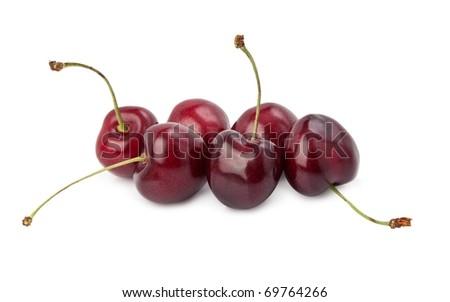 Black cherries isolated on white. - stock photo