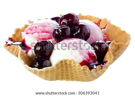Black Cherry Ice Cream in Waffle Bowl - stock photo