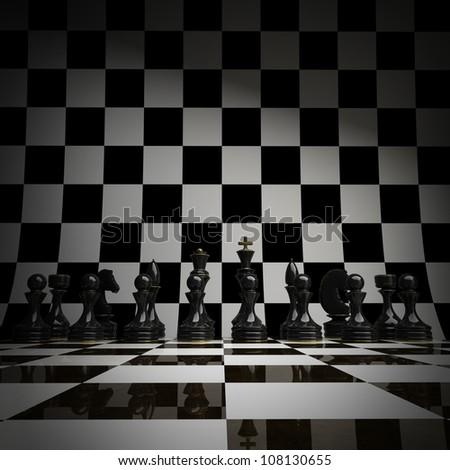Black chess background 3d illustration. high resolution - stock photo