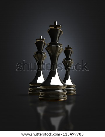 Black chess king background 3d illustration. high resolution