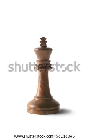 Black chess king isolated against white background. - stock photo
