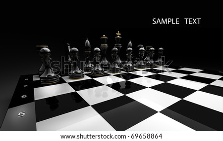 Black chess on a black background 3d render - stock photo
