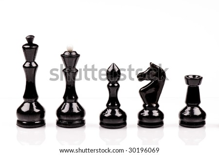 Black chess on the white background