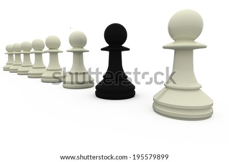 Black chess pawn standing with white pieces on white background