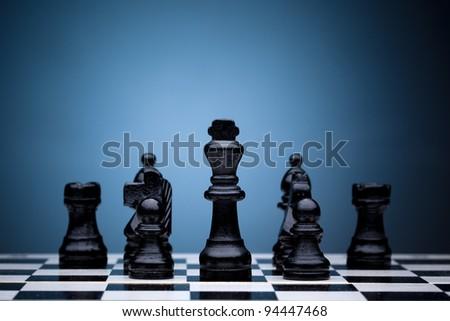 Black chess pieces - stock photo