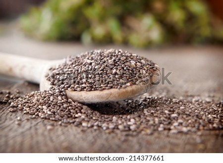 Black chia seeds on a wooden spoon - stock photo
