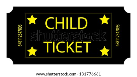 Black Child Ticket - stock photo