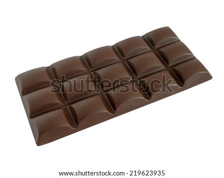 Black chocolate bar isolated on white background - stock photo