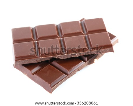Black chocolate piece isolated on white background