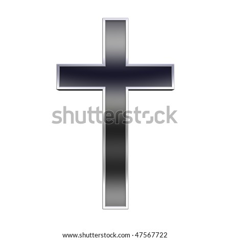 Black Christian cross isolated on white. Computer generated 3D photo rendering.