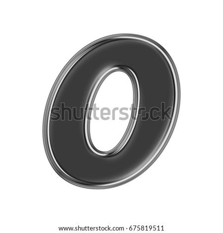Black chrome metallic number zero 0 in a 3D illustration with a glossy or shiny silver metal edge and basic bold text font style isolated on a white background