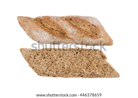 Black ciabatta bread cut in half and ready for sandwich isolated on white background