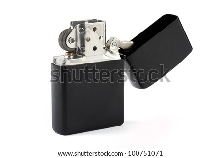 Black cigarette lighter over white