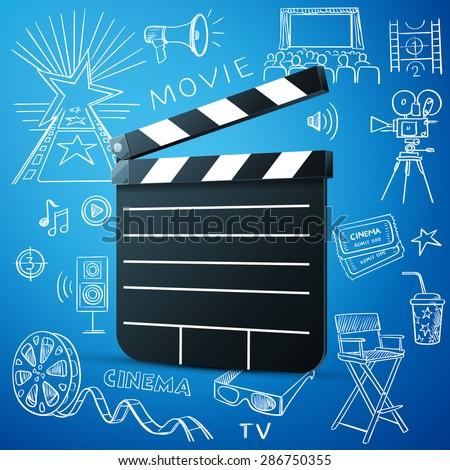 Black cinema clapper and hand draw cinema icon - stock photo