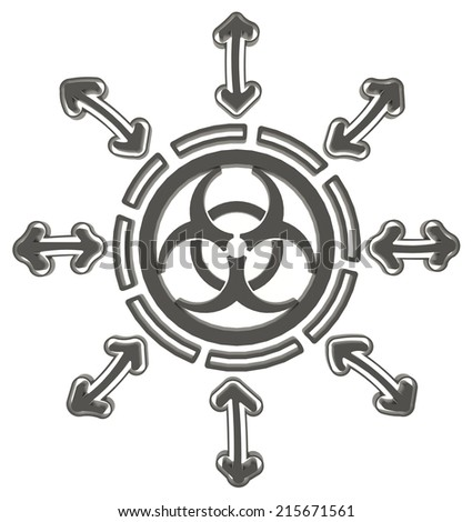 Black circle biohazard radiation symbol in isolated background, create by 3D  - stock photo