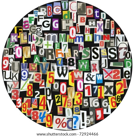 black circle, fullof newspaper letters, numbers and punctuation marks - stock photo