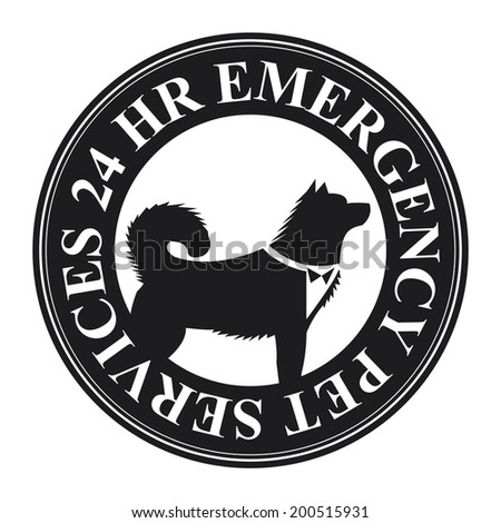 Black Circle 24 HR Emergency Pet Services Icon, Sticker or Label Isolated on White Background