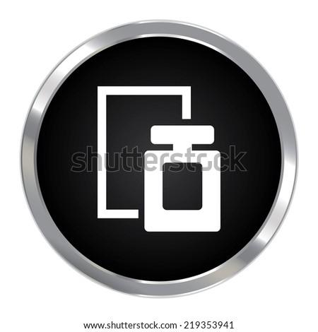 Black Circle Metallic Perfume Spray Icon or Button Isolated on White Background  - stock photo
