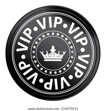 Black Circle Metallic Style VIP Icon, Label or Sticker Isolated on White Background  - stock photo
