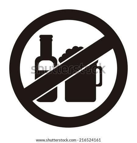 Black Circle No Alcohol Prohibited Sign, Icon or Label Isolate on White Background  - stock photo