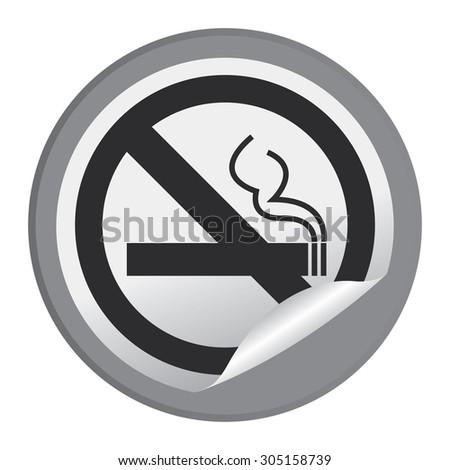 Black Circle No Smoking Prohibited Sign Infographics , Sticker, Icon or Label Isolated on White Background  - stock photo