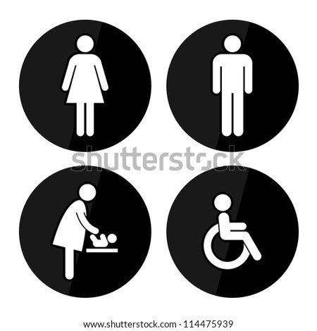 Black Circle Toilet Sign with Black Circle Background, Man Sign, Women Sign, Baby Changing Sign, Handicap Sign - stock photo