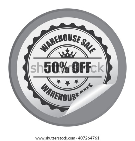 Black Circle Warehouse Sale 50% Off Product Label, Campaign Promotion Infographics Flat Icon, Peeling Sticker, Sign Isolated on White Background  - stock photo