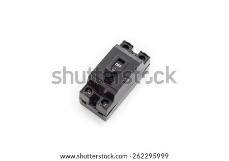 Black Circuit breakers ,isolated on a white background - stock photo