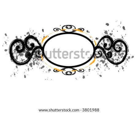 Black Circular Frame with Flourishes - stock photo