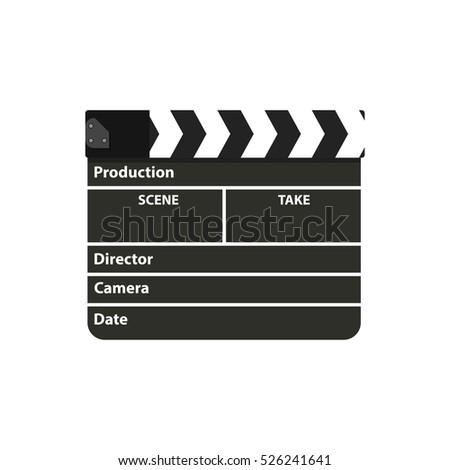 Black clapperboard. Movie clapper board. illustration in flat style on white background