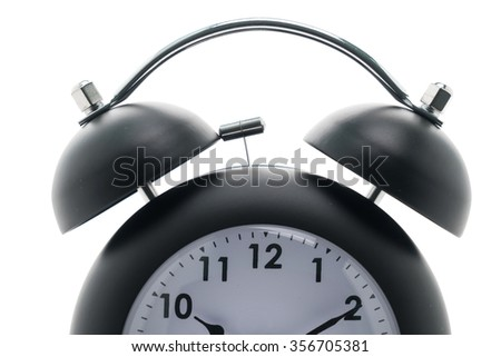 Black Classic Alarm clock isolated on white background